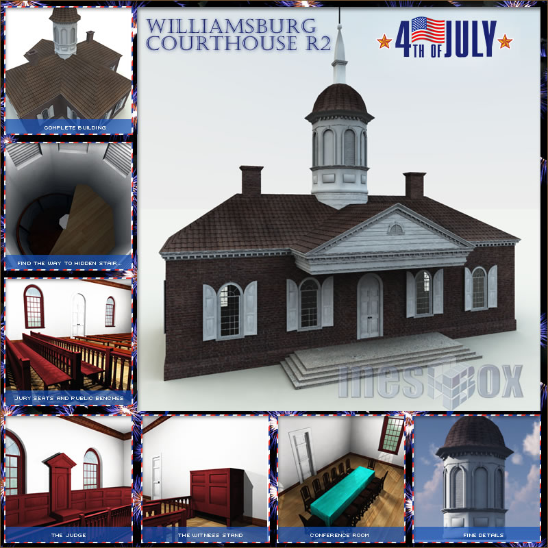 Williamsburg Courthouse 3D