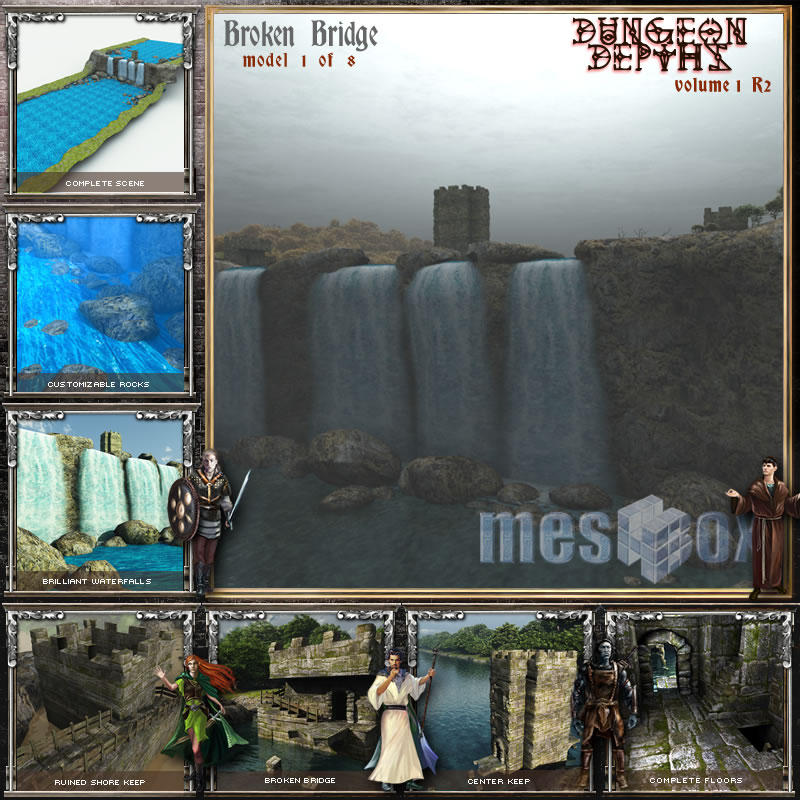 Dungeon Depths: Broken Bridge Falls 3D Tower and Waterfalls