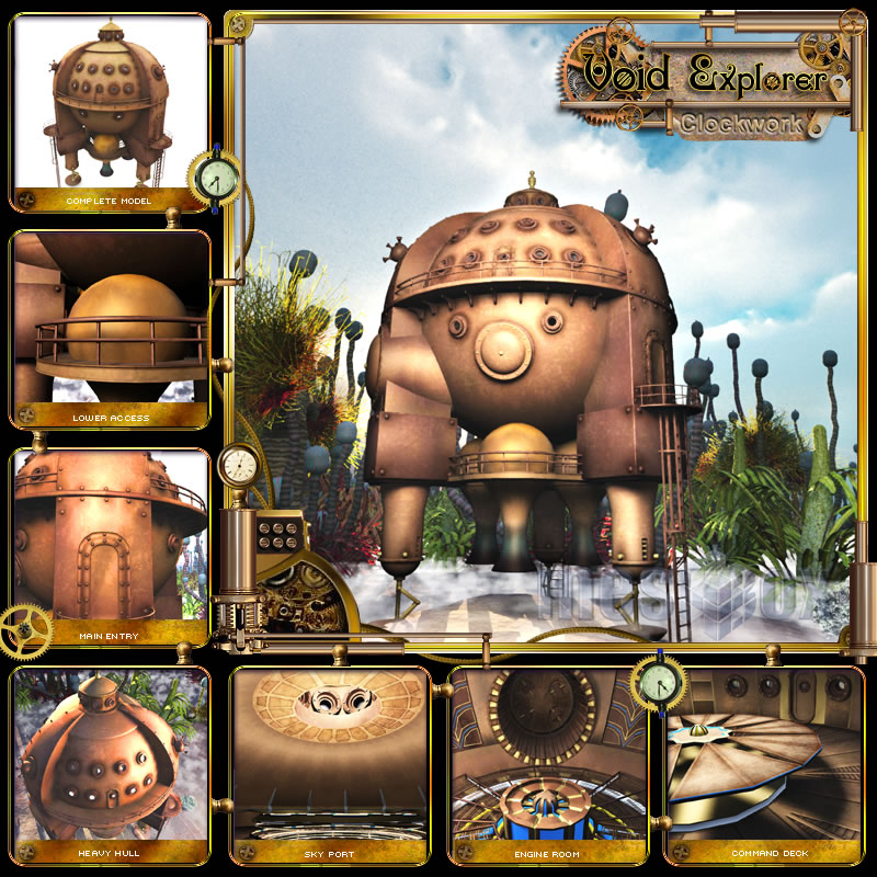 Clockwork Steampunk Space Ship