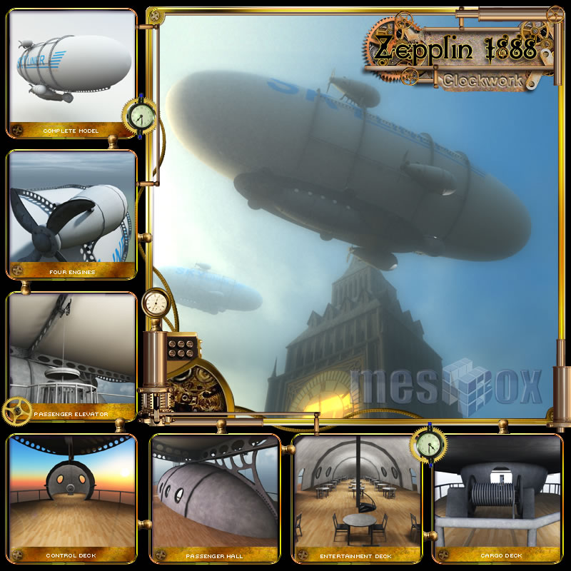 Clockwork Steampunk Zeppelin 1888