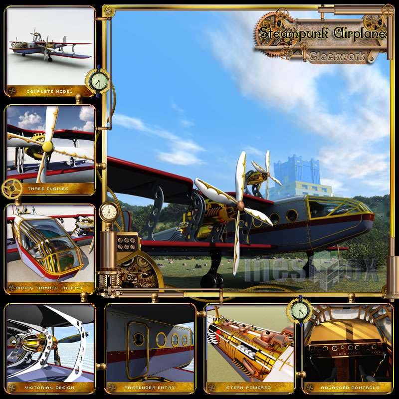 Clockwork Steampunk Airplane