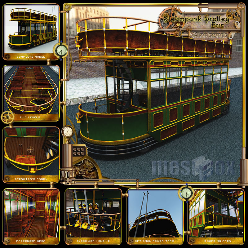 Clockwork Steampunk Trolley Bus