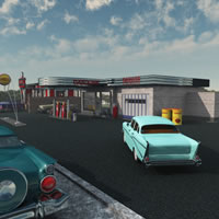Fedoraville 1950s Gas Station