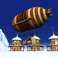 Toon Santa&#039;s Personal Zeppelin