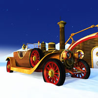 Toon Santa&#039;s Steampunk Car