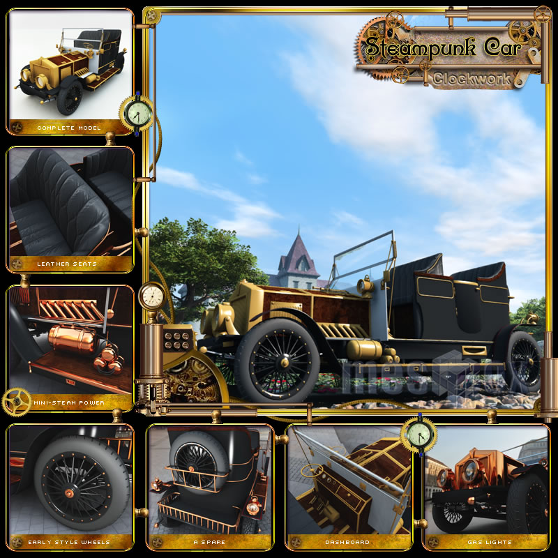 Clockwork Steampunk Automobile